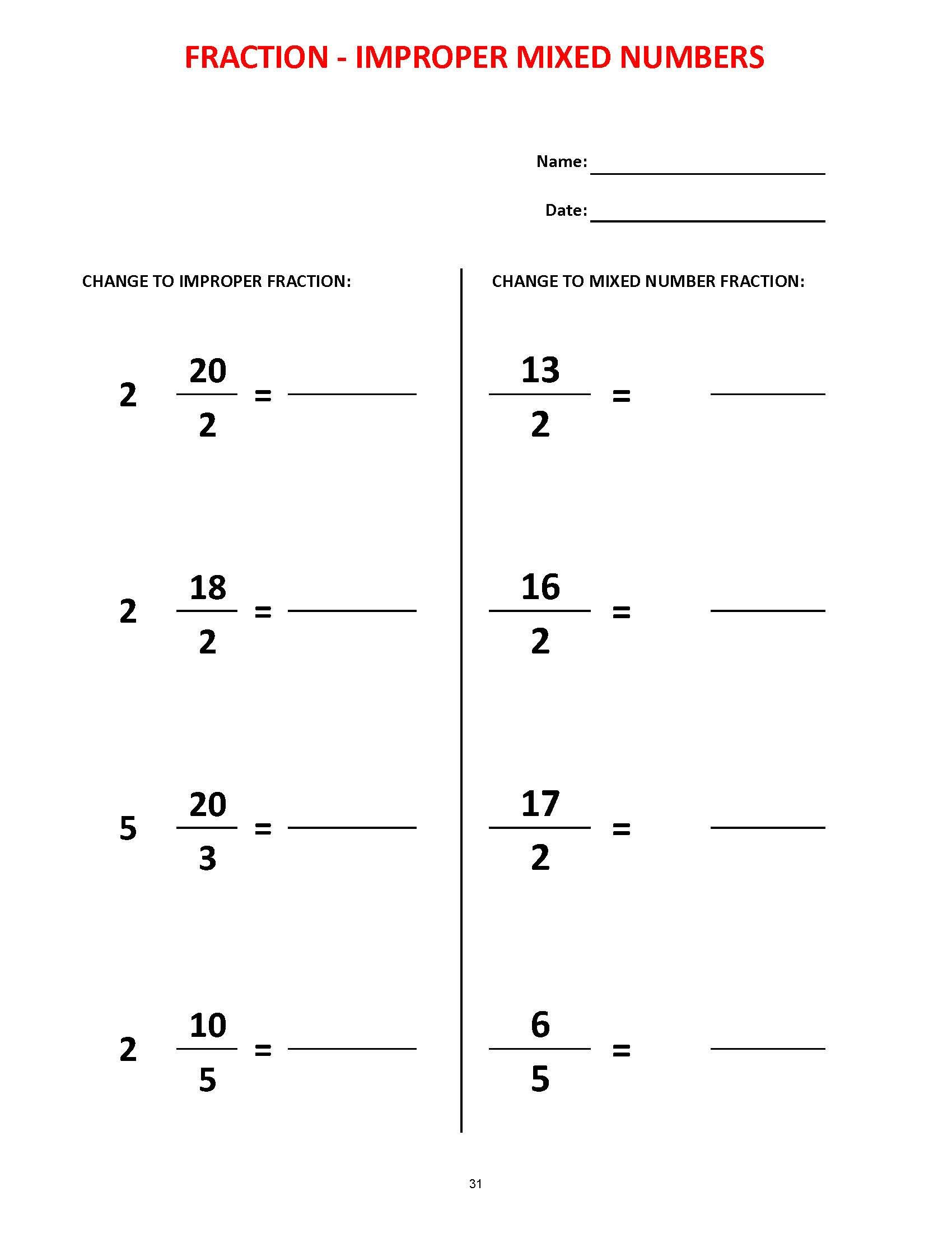 Fractions 36 Worksheets Equivalent Fractions Mixed Numbers
