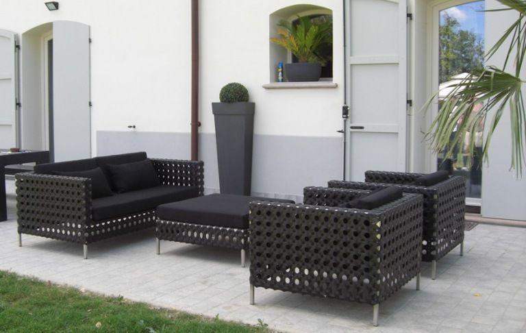 Salotto da giardino in acciao e rattan sintetico modello grafite - Salotto giardino rattan ...