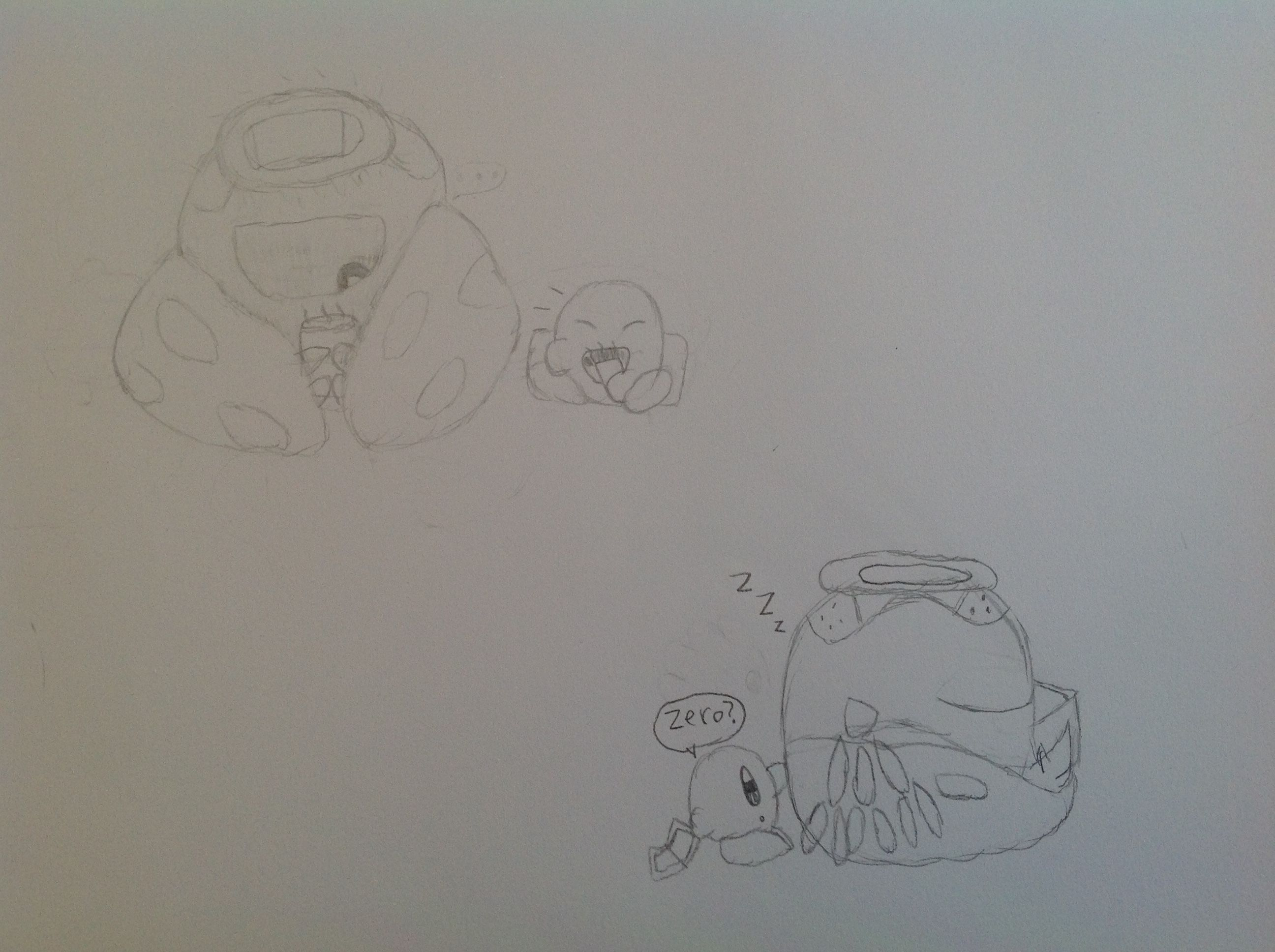 Zero and Kirby doodles