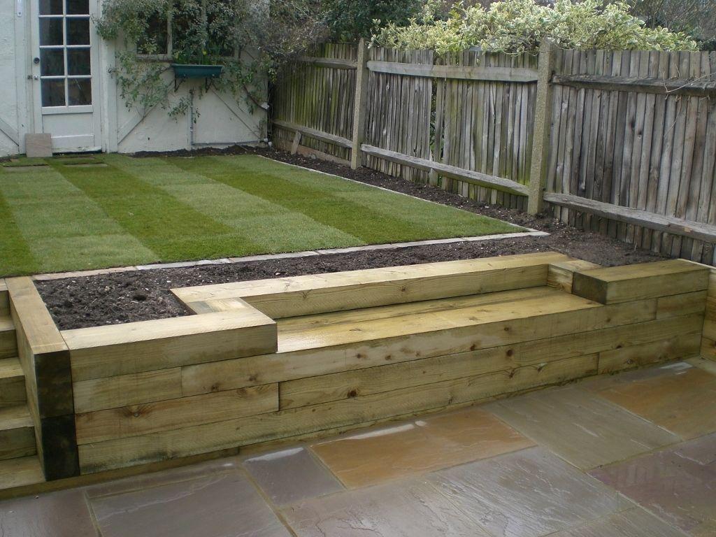 Railway Sleepers « Garden Gurus, Landscape Gardening In South London  Planter With Built In Bench