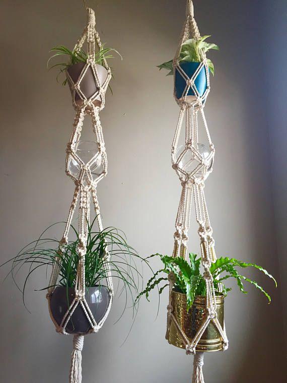 Triple Elsa 76 Quot Macram 233 Plant Hanger Brass Beads Or No Beads Three Tier Hangers Multi Plant