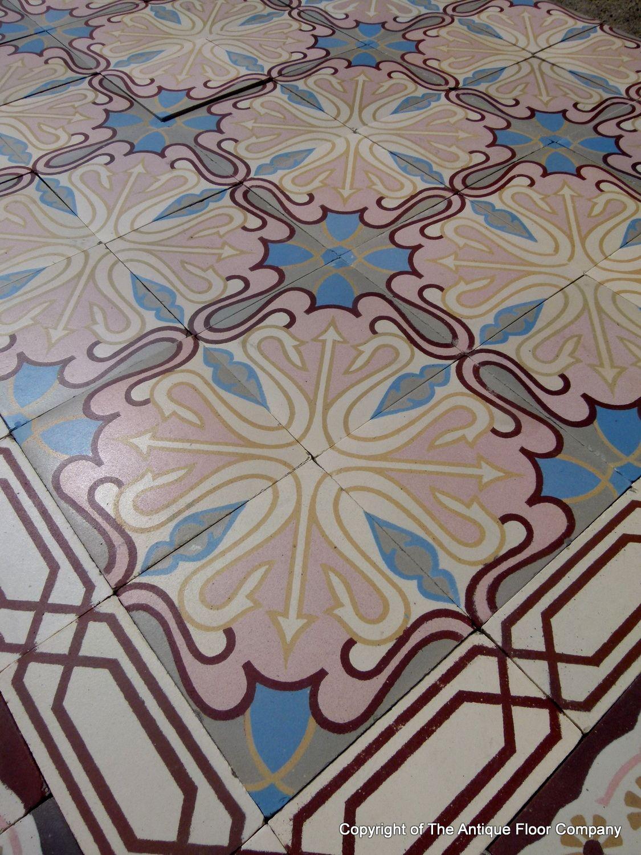 Art deco floor tile choice image tile flooring design ideas 12m2 130 sq ft antique ceramic art nouveau floor with triple 12m2 130 sq ft antique doublecrazyfo Image collections