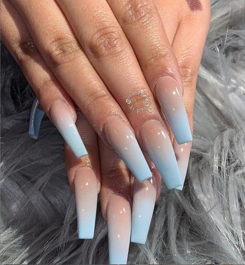Classy Acrylic Coffin Nails Design Blue Coffin Nails Long Ideas Sparkle Glitter Acrylic Coffin Nai In 2020 Ombre Acrylic Nails Coffin Nails Long Coffin Nails Designs