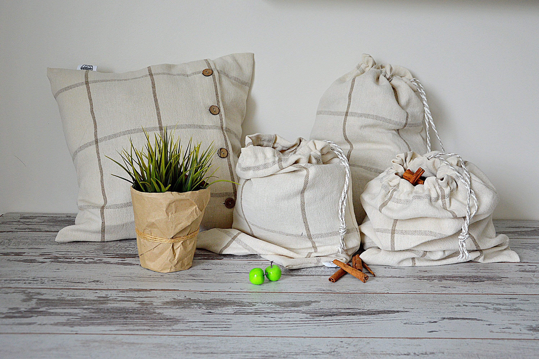 Eco Storage Bag 100 Linen Bags Laundry Linen Bag Large Storage Bag Linen Laundry Bag Drawstring Cleaning Clothes Homemade Spa Linen Bag