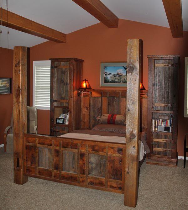 barnwood furniture, rustic furnishings, log bed, cabin decor