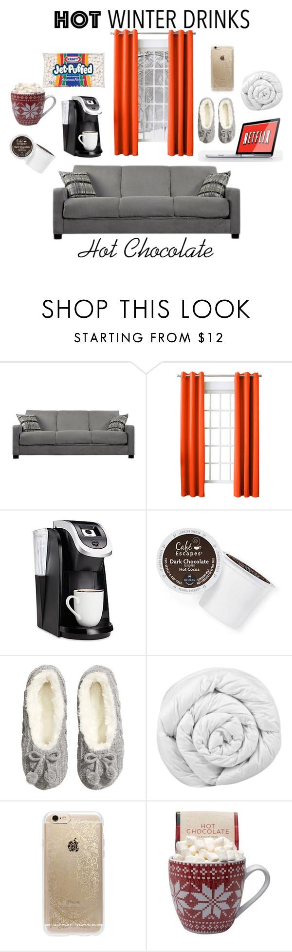 """Hot Cocoa"" by maisy-loren ❤ liked on Polyvore featuring interior, interiors, interior design, home, home decor, interior decorating, Hearts Attic, Sun Zero, Keurig and H&M"