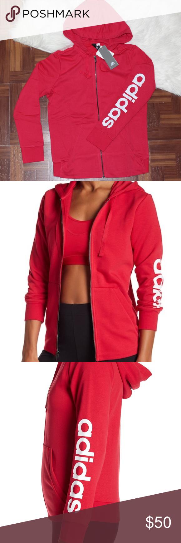 Nwt Adidas Rosa Essenziale Lineare Piena Zip Felpa Adidas Essenziale