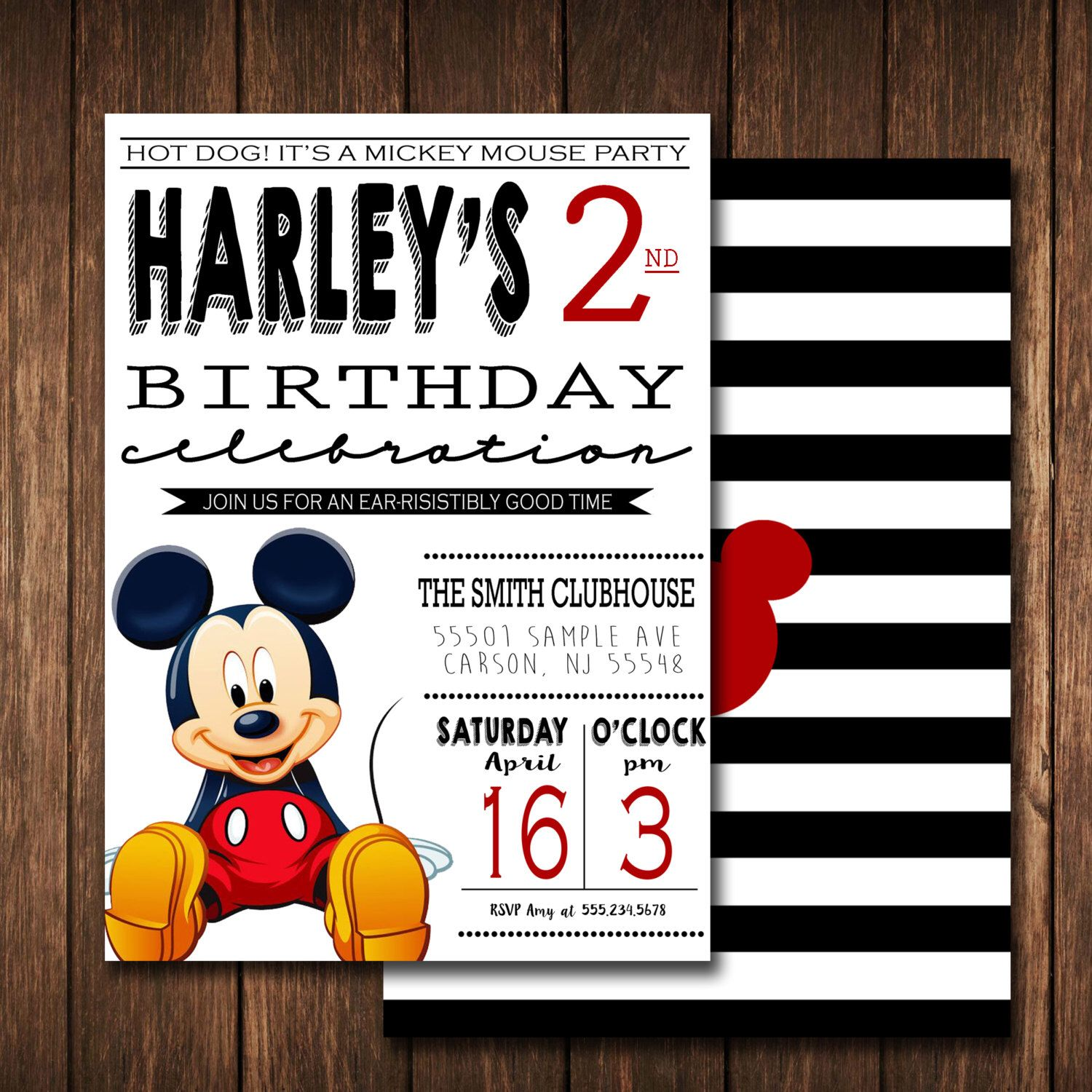 MICKEY MOUSE Invitation,Mickey Birthday,Mickey Mouse Clubhouse ...