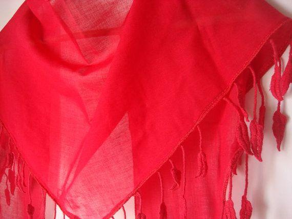Red Cotton Scarf  Headband  Bandana by mmelike on Etsy, $14.90