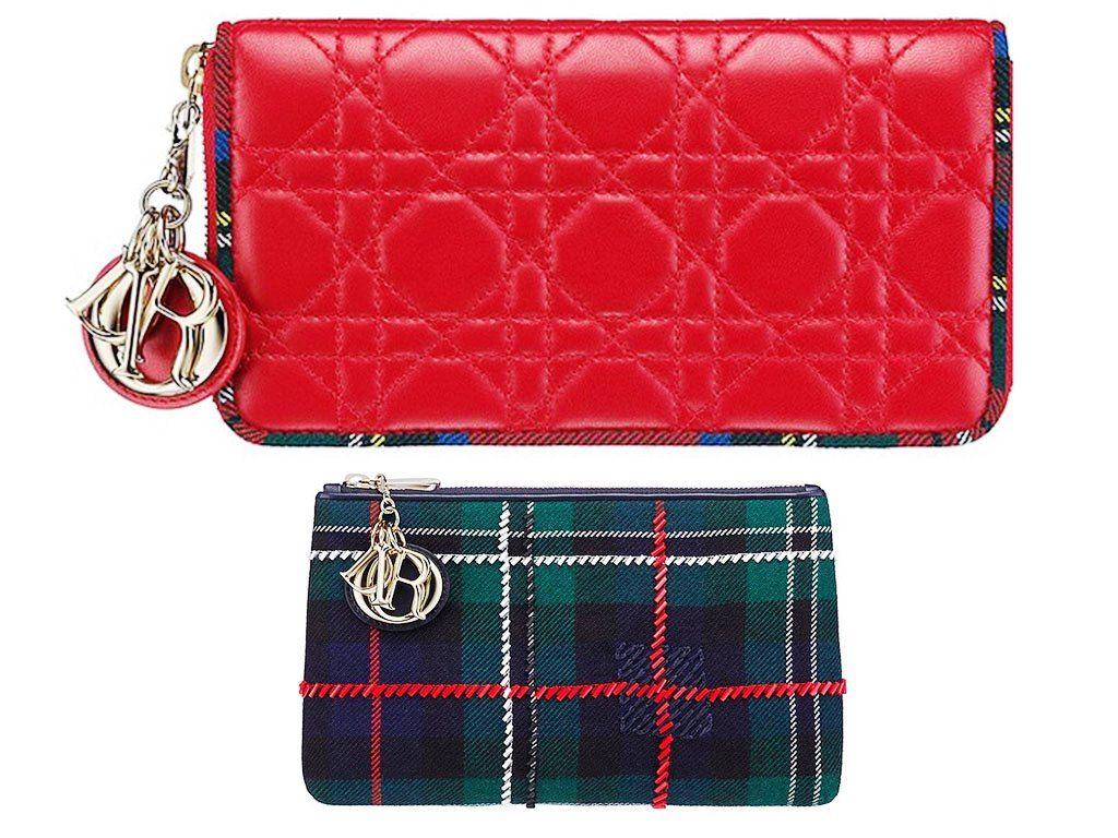 Dior Red Lady Dior Tartan Zipped Pouch Bag 2013  26d0a234f8e08