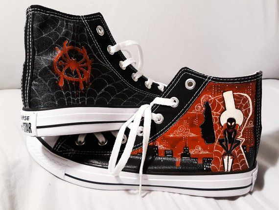 f93cafd6501f Handpainted Miles Morales Spider-Man AllStar High Top Converse Shoes ...