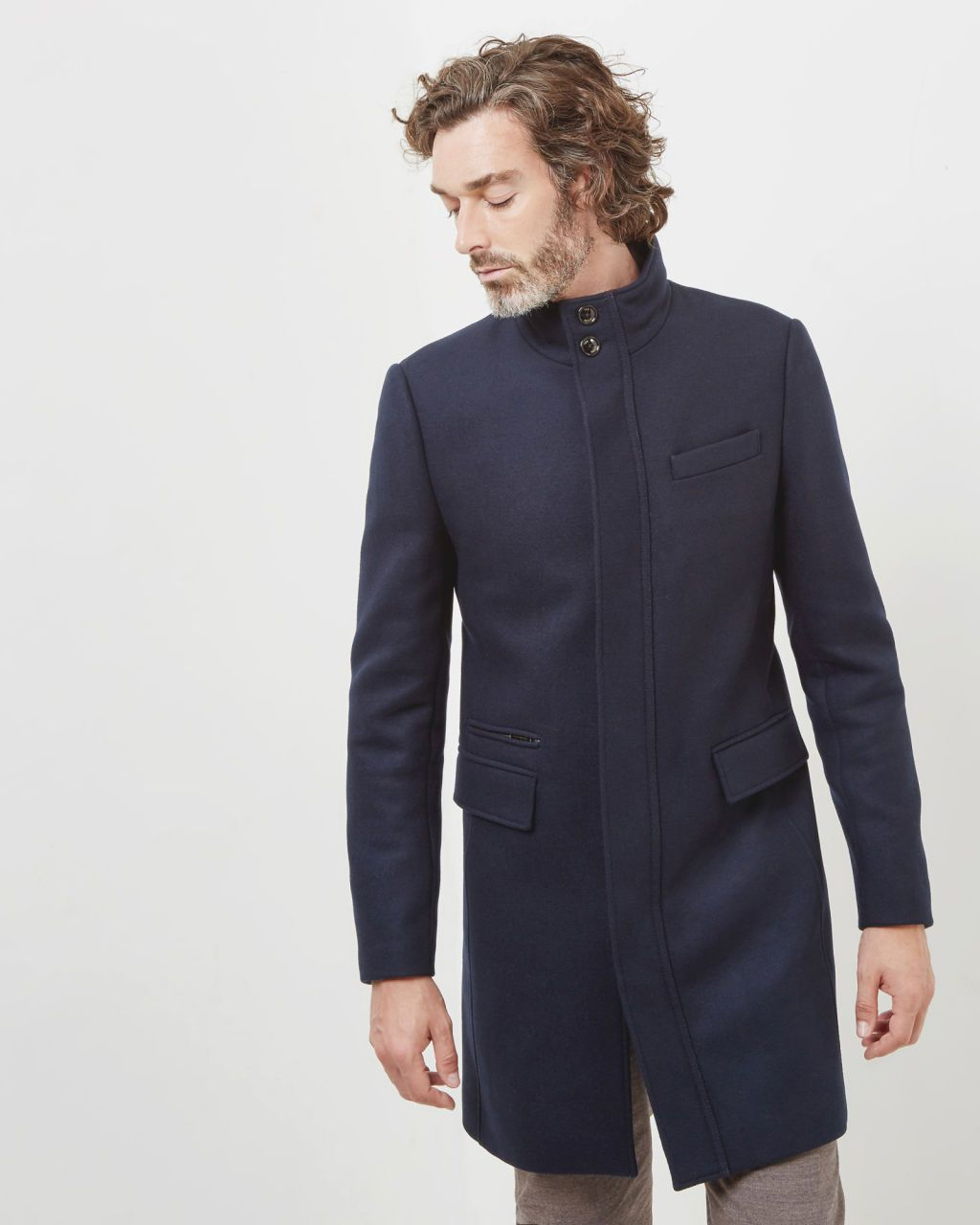 find Brand Mens Funnel Neck Wool Coat