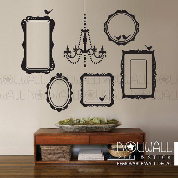 Photo Frames Wall Decal Elegant Chandelier Wall Sticker by NouWall ...