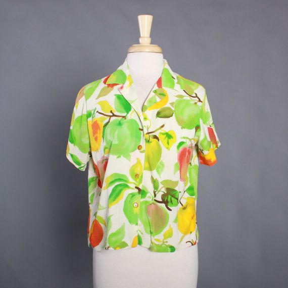 vintage 1990s women's jams world rayon novelty apples print shirt.