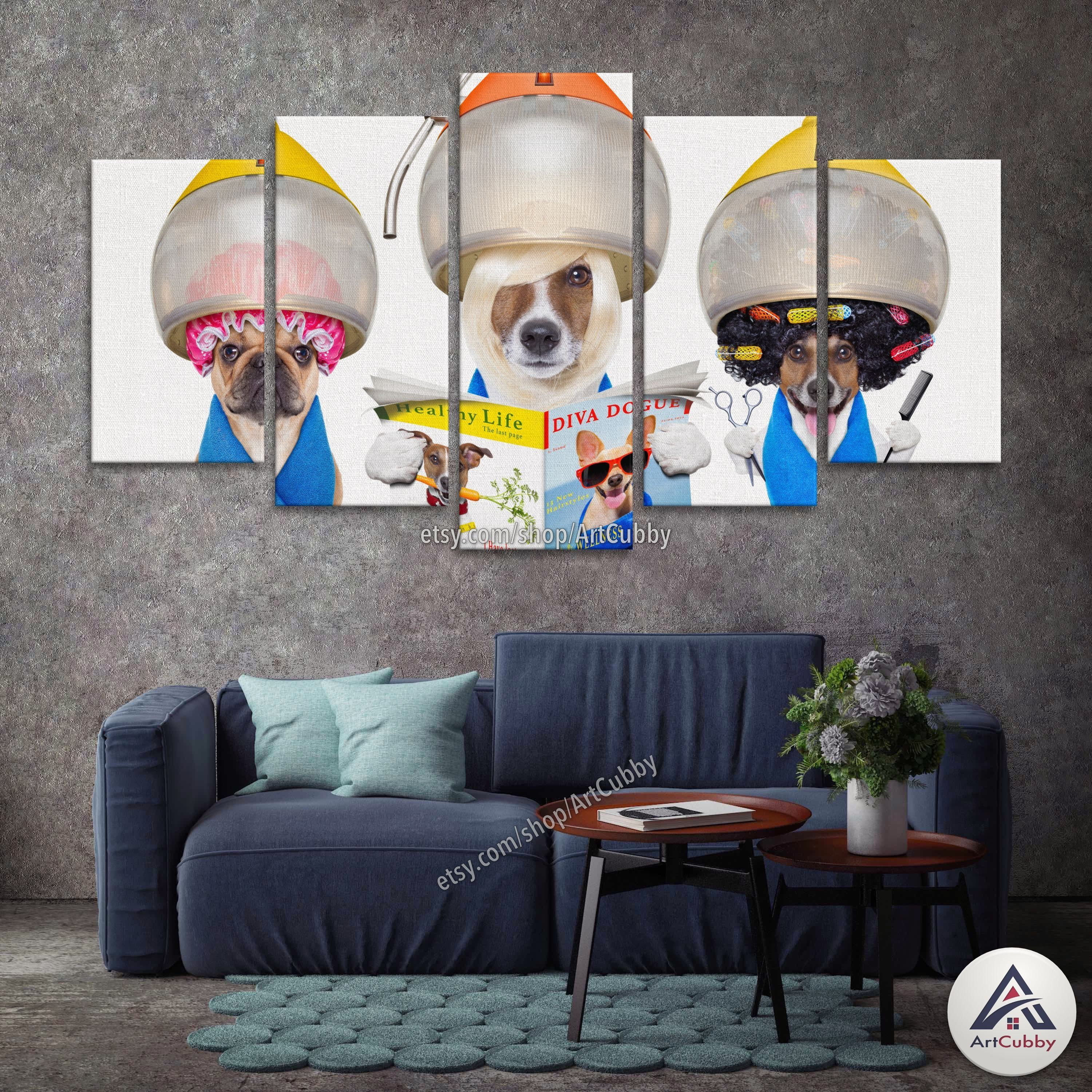 Funny Dogs At Hairdresser Canvas Set Multi Panel Animal Canvas Hd