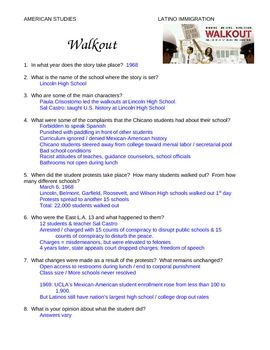 Walkout Movie Study Guide Answer Key Study Guide High School Students Film School