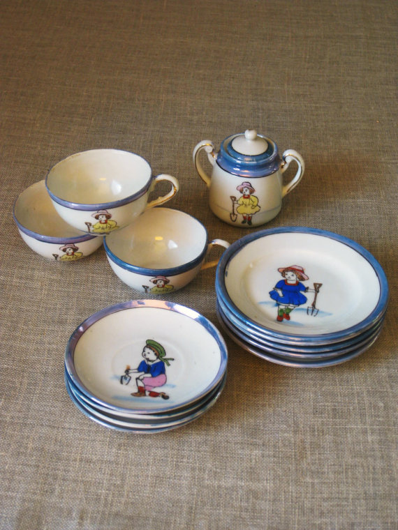 Antique Ceramic Toy Doll Dishes