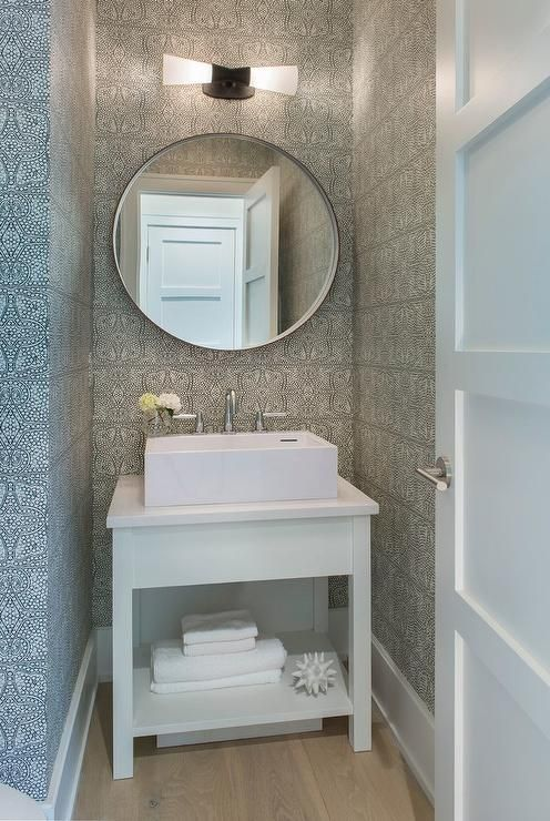 Stunning Small White And Gray Powder Room Is Equipped With A White