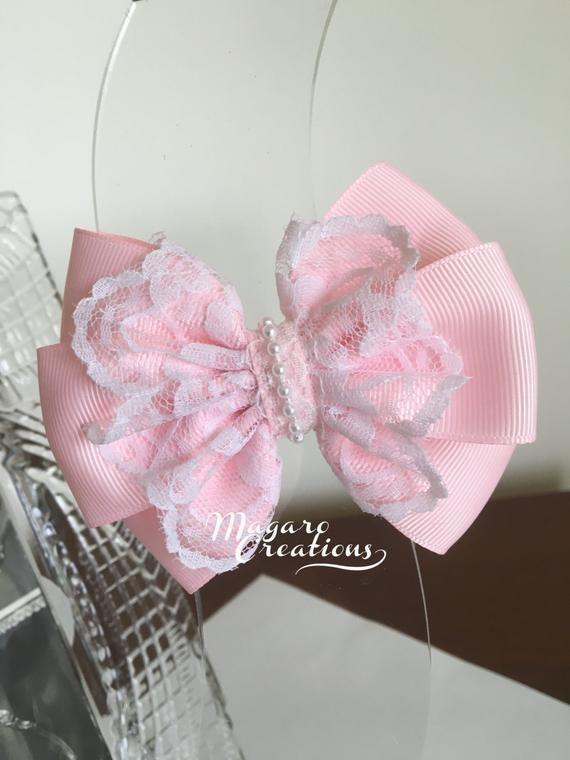 Pink hair bowsgirl bowbow hair cliphair bow clipgirl | Etsy #hairclips