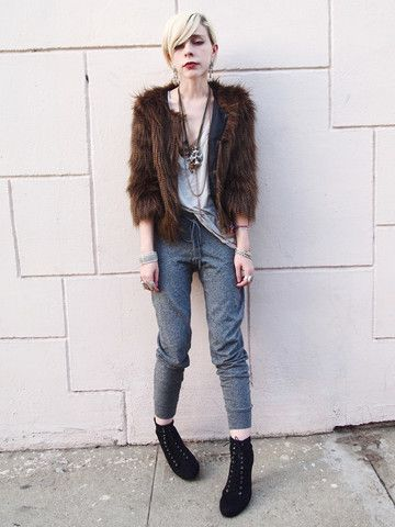 Urban Outfitters Fur Jacket, Forever 21 Sweatpants, Seneca Rising Mesh Inset Tee, Forever 21 Boots
