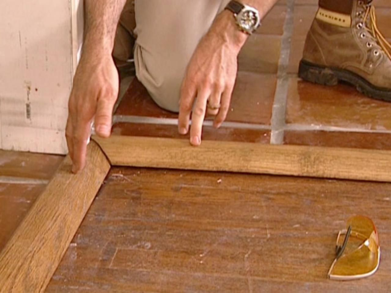 How to install a tile floor transition wood molding moldings and