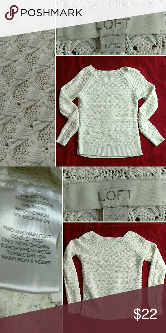 LOFT Creamy knit sweater In excellent condition. Perfect comfy chic addition to your wardrobe of the season. LOFT Sweaters Crew & Scoop Necks