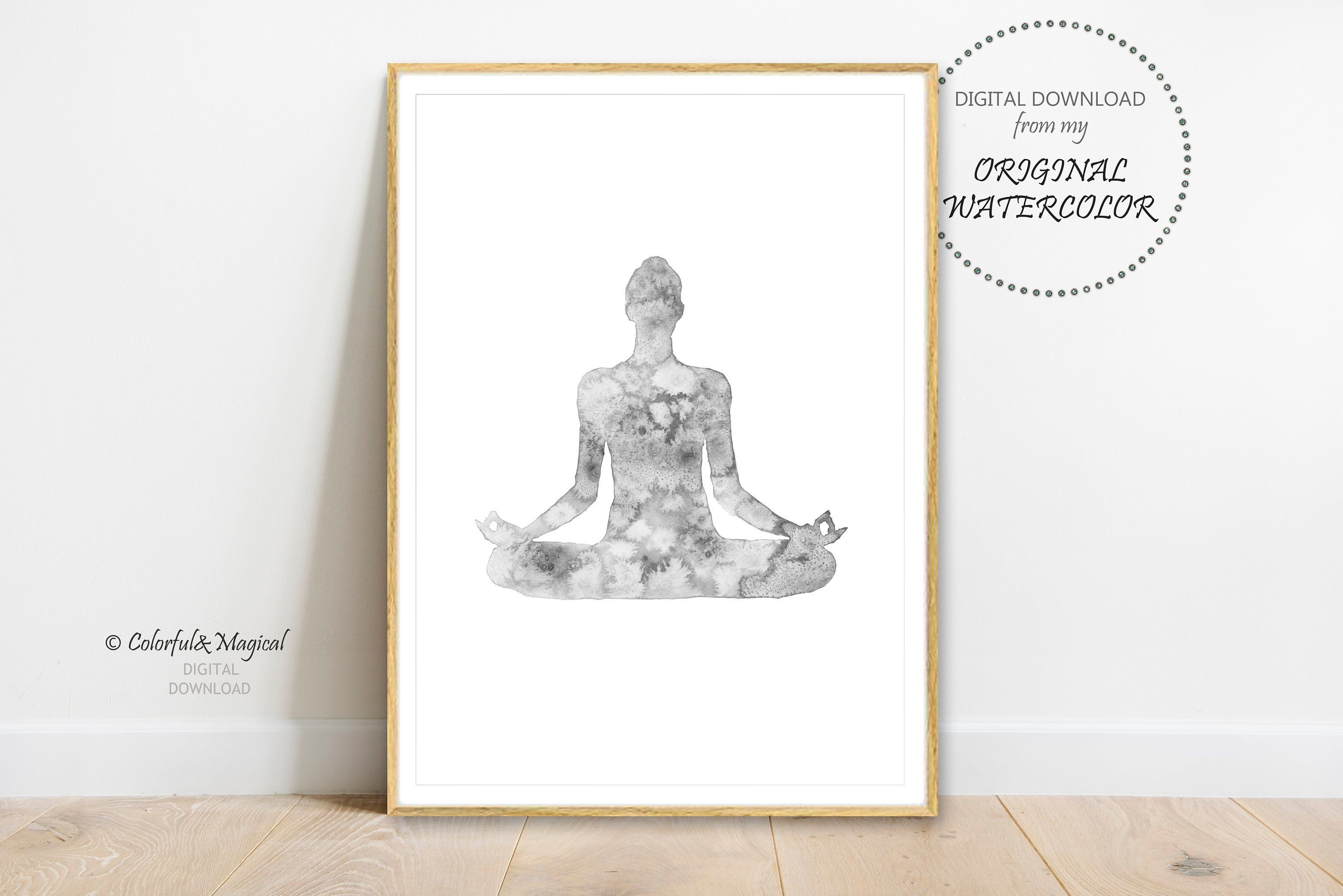 Black And White Yoga Watercolor Printable Wall Decor Yoga Pose