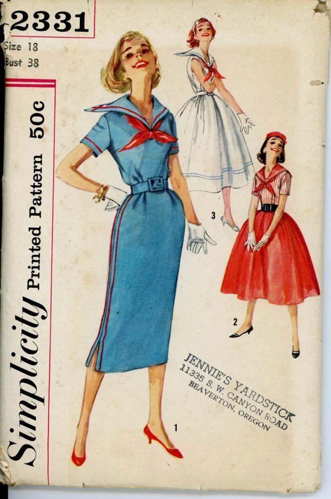 1950s Sailor Collar Dress Pattern Simplicity 2331 Bust 32 Slim or ...