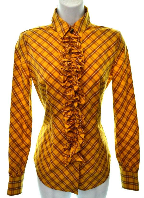 7df113ac1fb7 $11.47 NEW YORK & CO Womens XS Gold Yellow Plaid Check Ruffle Tuxedo Long  Sleeve Blouse #NewYorkCompany #ButtonDownShirt #Career