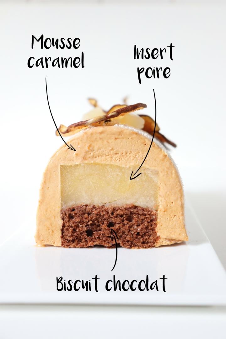 Bûche poire caramel et biscuit chocolat - Recette de Noël - Olivia Pâtisse