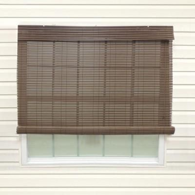 Superior Chestnut Exterior Roll Up Patio Sun Shade With Valance   72 In. W X 84