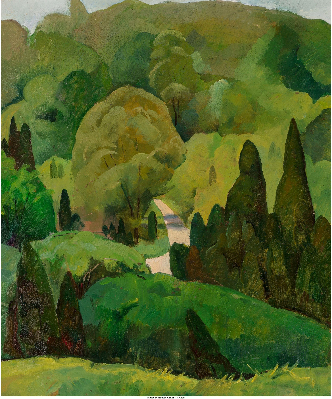 Verdant Landscape Summer Luigi Lucioni 1926 Oil On Panel 24 X 20 Private Collection Summer Landscape Landscape Environmental Art