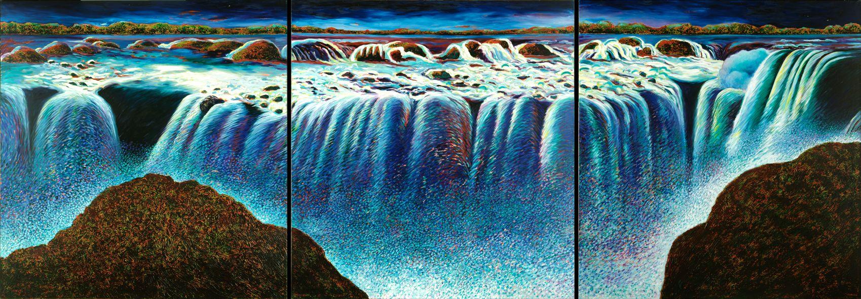Nicolás García Uriburu | Iguazú nocturno (cataratas) | 1987 | Óleo sobre tela | 190 x 540 cm