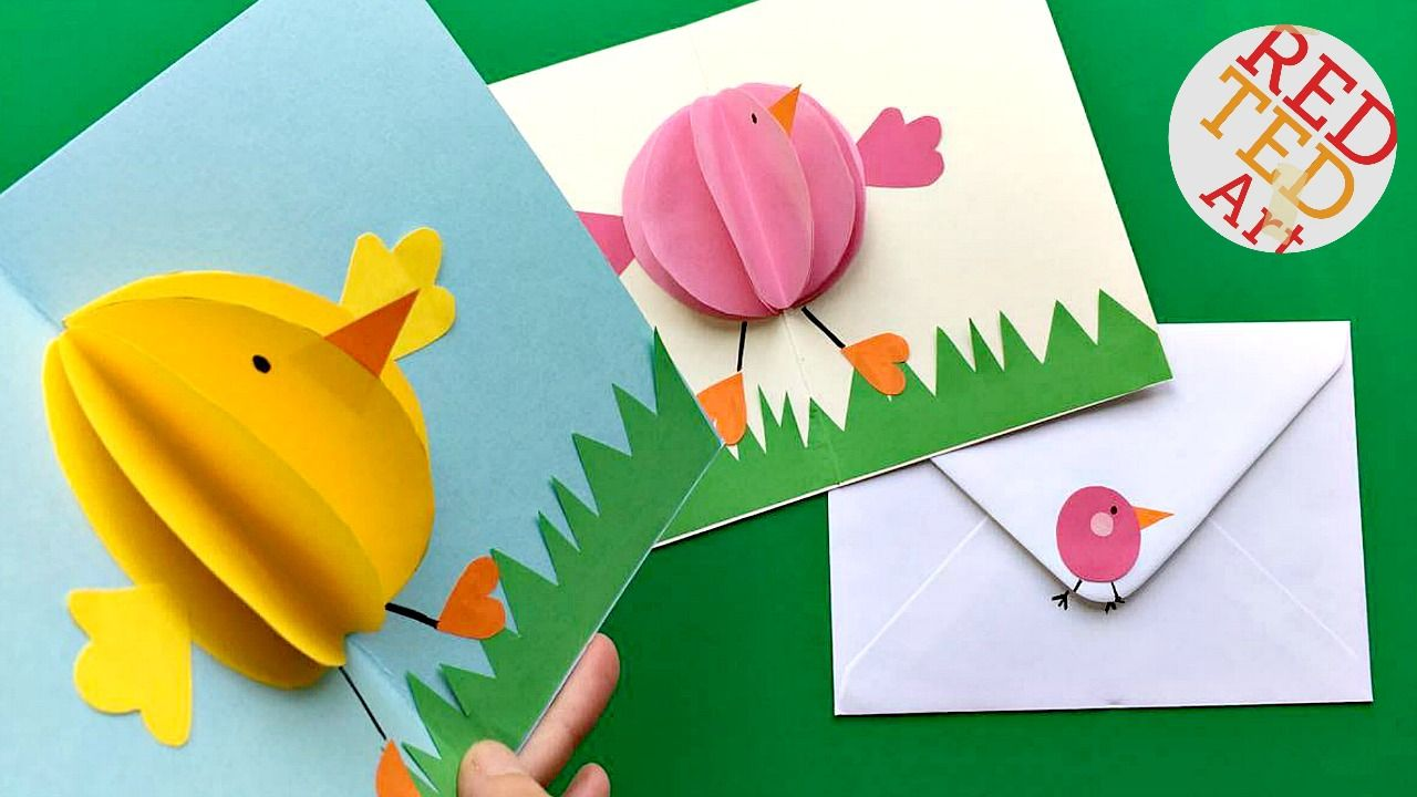 Easy Pop Up Card How To Projects Red Ted Art Make Crafting With Kids Easy Fun Easter Cards Handmade Diy Pop Up Cards Diy Easter Cards