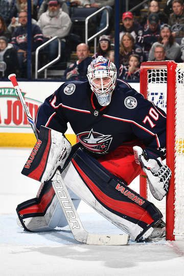 COLUMBUS, OH - DECEMBER 31: Goaltender Joonas Korpisalo #70 of the Columbus Blue Jackets defends the net against the Tampa Bay Lightning on December 31, 2017 at Nationwide Arena in Columbus, Ohio. (Photo by Jamie Sabau/NHLI via Getty Images)