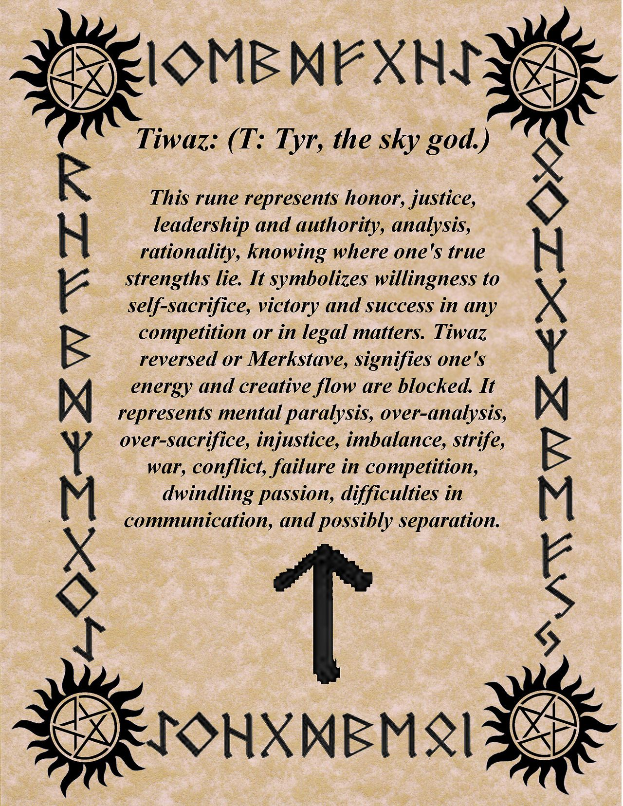 Tiwaz Rune And Its Meaningsignificance Runes Pinterest Runes