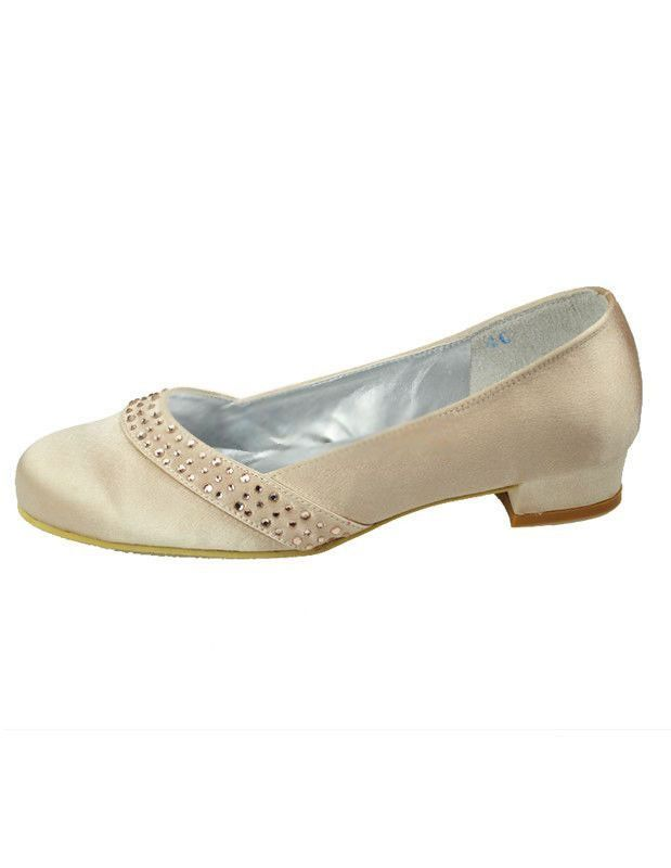 Champagne Satin Paillette Wedding Pumps - Wedding  Shoes
