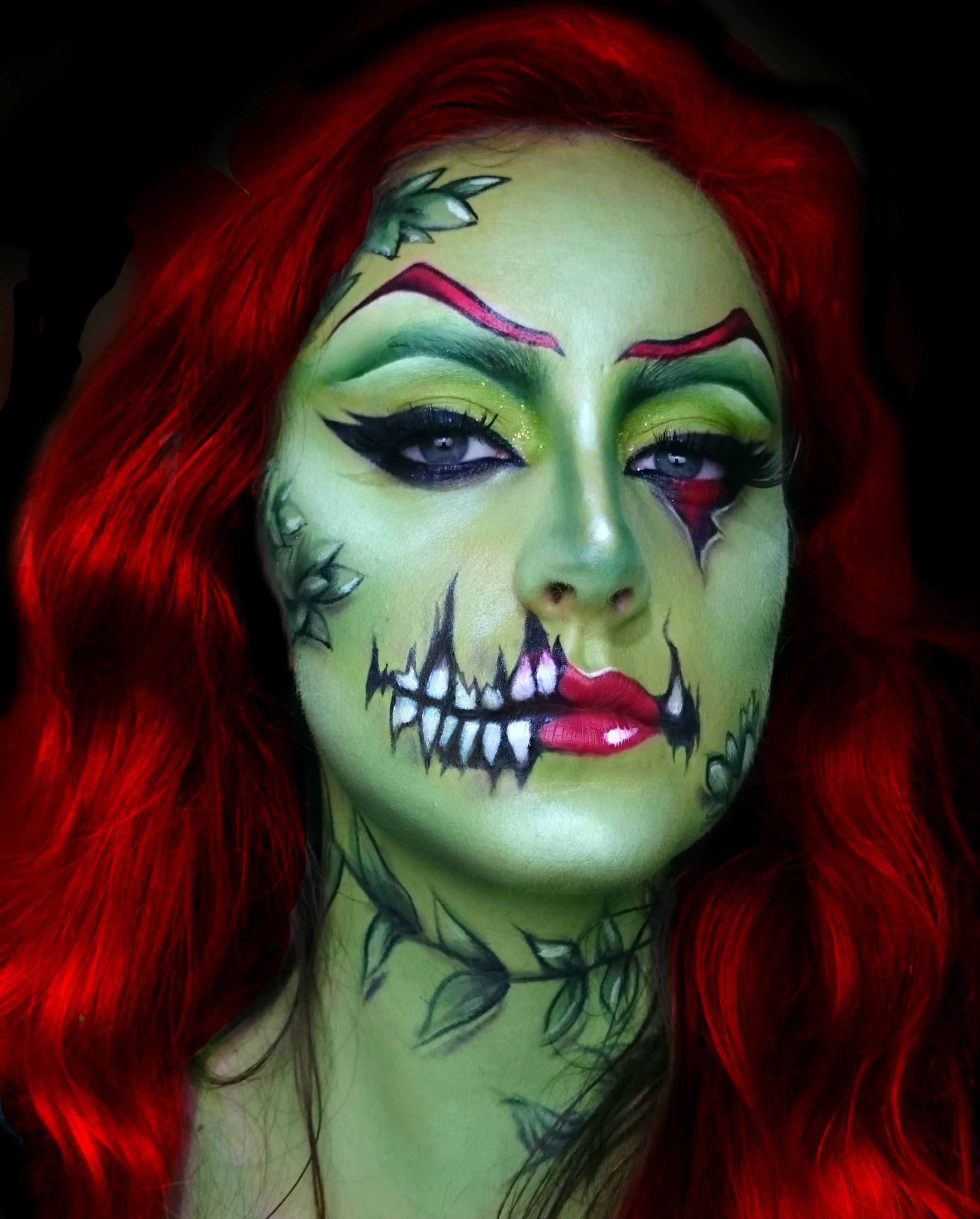 Poison Ivy Zombie Popart Halloween Makeup Looks Face Painting Halloween Monster Makeup
