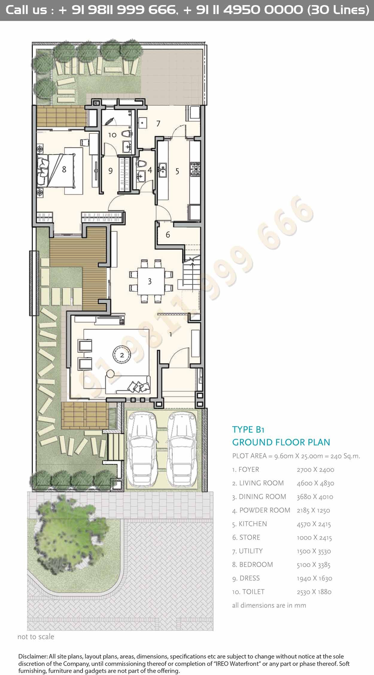 Type B1 Ground Floor Plan Courtyard House Plans House Construction Plan Architectural Floor Plans