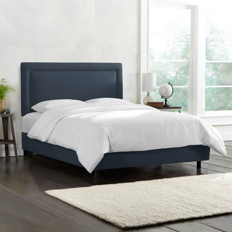 Skyline Furniture Border Bed in Linen Ocean (Blue) (Twin - Twin ...