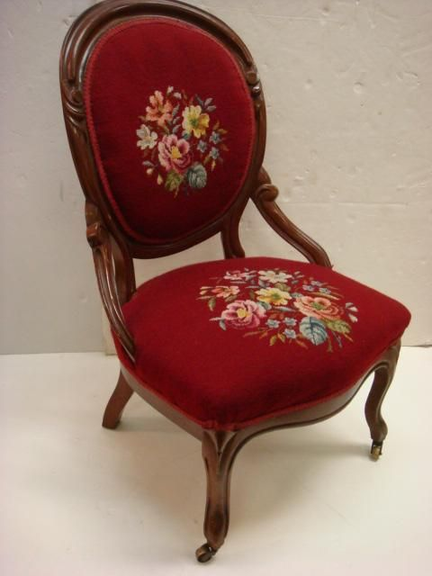 Victorian Mahogany Framed Balloon Back Chair: Red Needlepoint Seat U0026 Back,  Carved