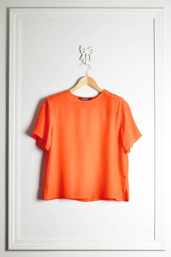 Short Sleeve Silk T Shirt / Bright Tangerine Orange / Boxy Mod Color Block / 90s / by THRIFTAGE on Etsy, $21.00 // Vintage Street Style