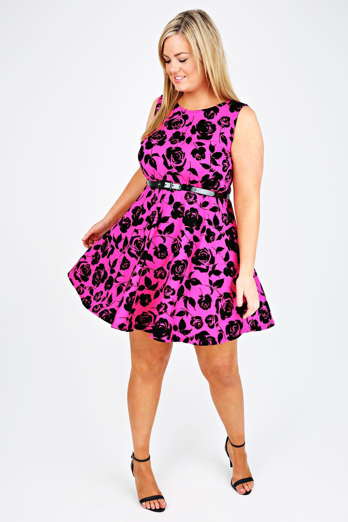 Magenta And Black Rose Flocked Skater Dress plus size 14,16,18,20,22 ...