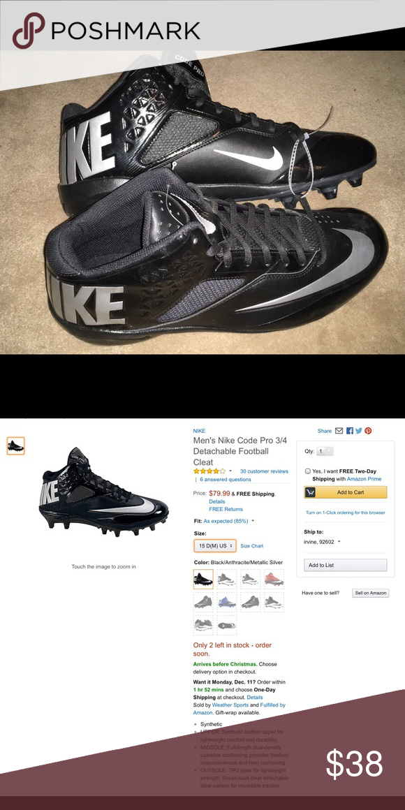timeless design fab31 173c6 NWOT Nike Code Pro Men s football cleats Nike Code Pro Men s football cleats  Size 15 Brand New - No tag Nike Shoes Athletic Shoes