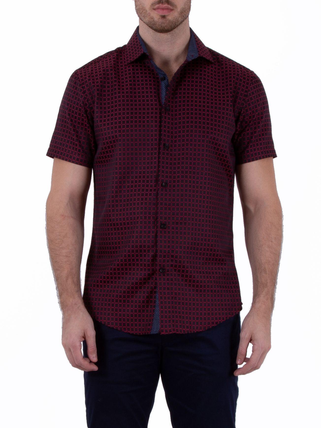 182124 mens red button up short sleeve dress shirt