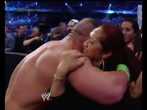 John Cena hugs The Rock's mother ( Wrestlemania 30 )