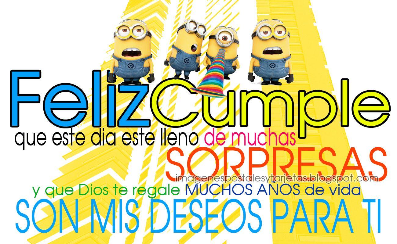 Postal De Cumpleaños De Minions Imagenes Postales Y Tarjetas