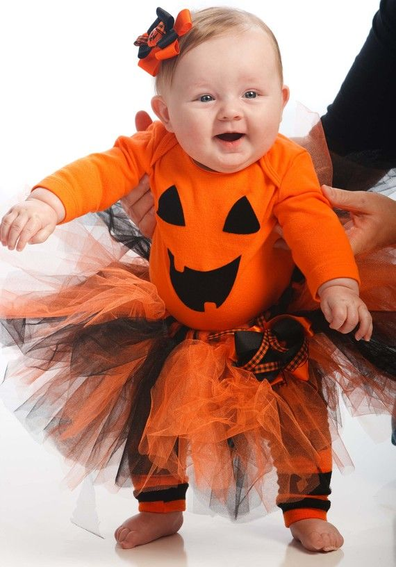 Baby Infant halloween pumpkin tutu costume by lovehugsandstitches