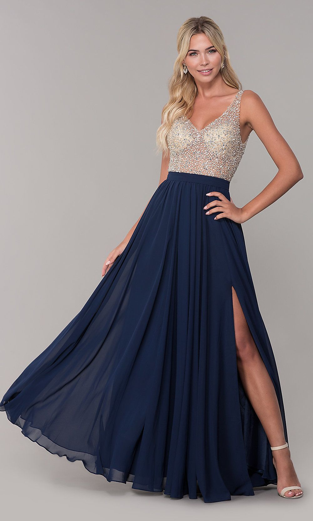 4e012921c6d Illusion-Beaded-Bodice Long Prom Dress - PromGirl