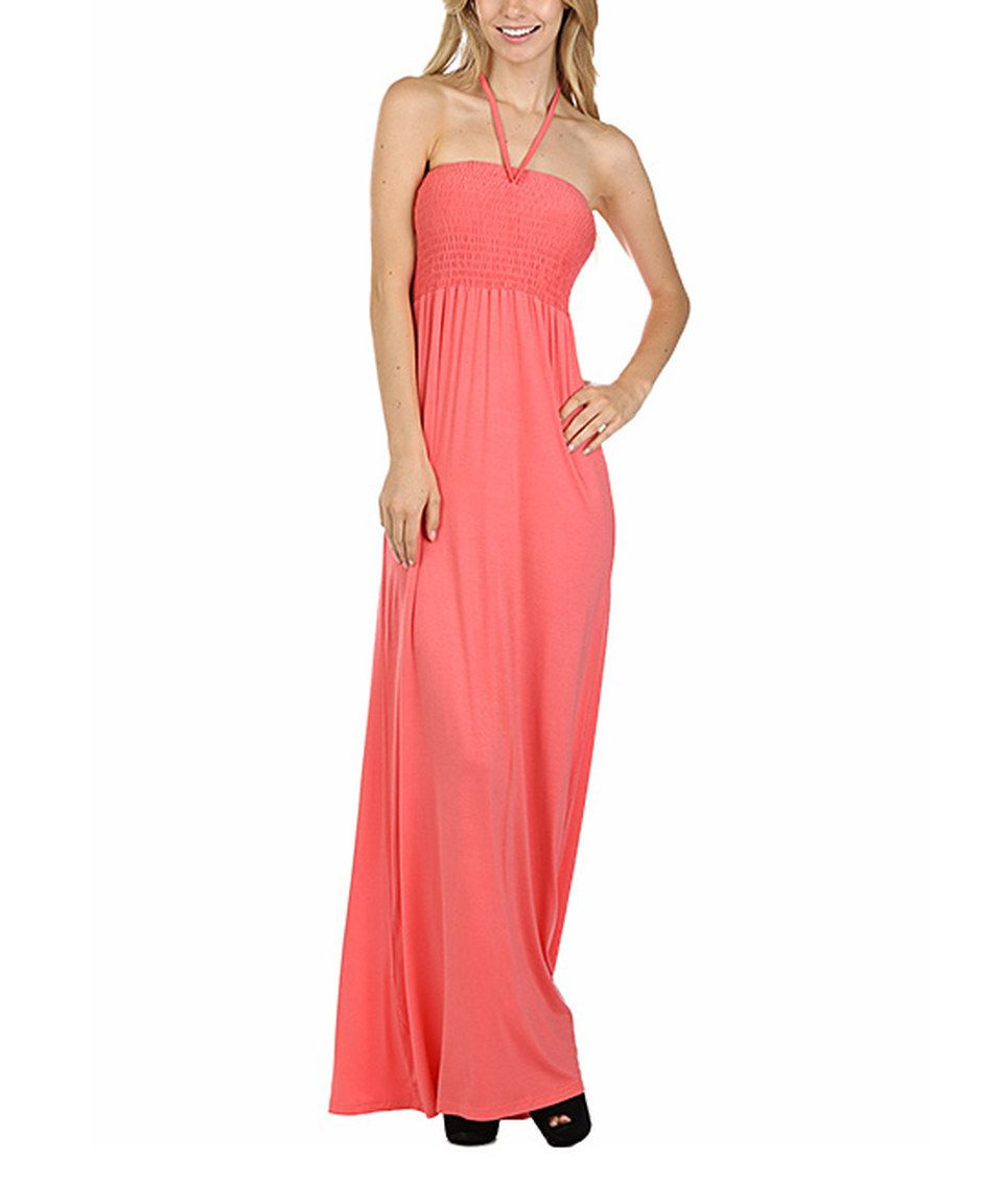 Another great find on zulily coral halter maxi dress by pops